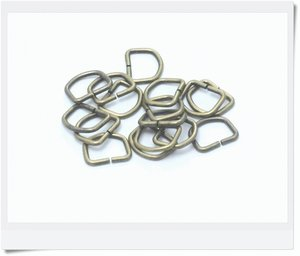 D-ring, antique finish brass, 15mm