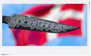 Damascus blade, 103 x 26 x 4 mm