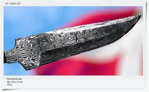 Damascus blade, 89 x 25 x 3 mm